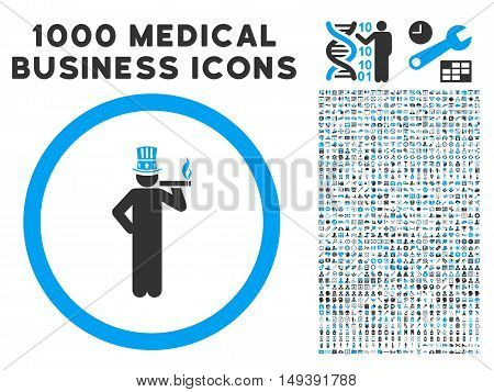 American Capitalist icon with 1000 medical commercial gray and blue vector design elements. Collection style is flat bicolor symbols, white background.