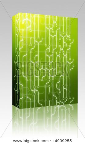 Software package box Abstract illustration of circuitry electronic pattern design