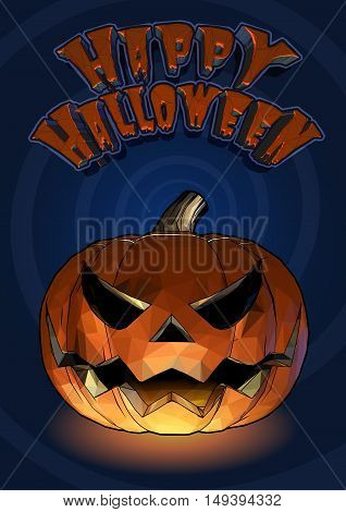Halloween pumpkin jack o lantern with scary expression in cartoony style on blue spiral background