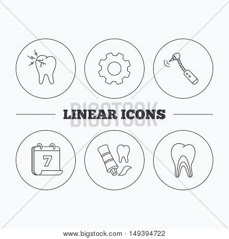 Toothpaste, dental tubules and toothache icons. Drilling tool linear sign. Flat cogwheel and calendar symbols. Linear icons in circle buttons. Vector