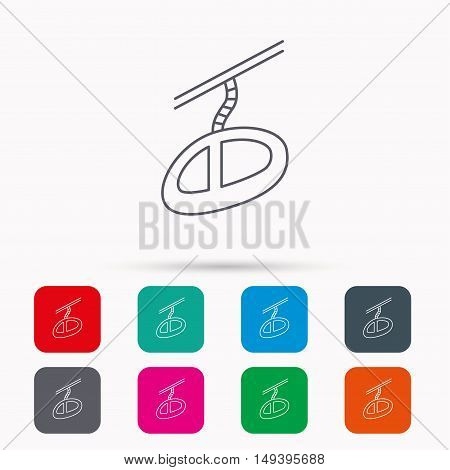 Teleferic icon. Telpher cable-railway sign. Linear icons in squares on white background. Flat web symbols. Vector