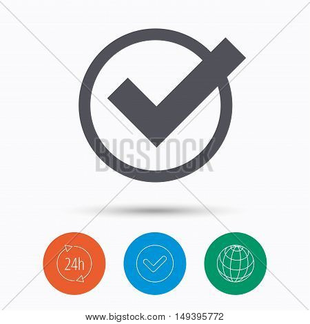 Tick icon. Check or confirm symbol. Check tick, 24 hours service and internet globe. Linear icons on white background. Vector