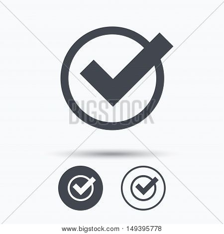 Tick icon. Check or confirm symbol. Circle buttons with flat web icon on white background. Vector