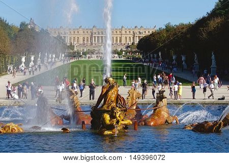 Versailles, France, September 24, 2016: In the park of the Versailles castle in France.