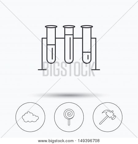 Hammer, lab bulbs and weather cloud icons. Lolly pop linear sign. Linear icons in circle buttons. Flat web symbols. Vector