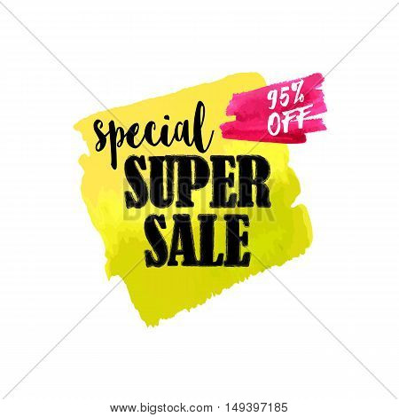 Vector hand drawn watercolor labels for sale. Yellow and red sticker with text special super sale. Illustrations for graphic and web design, for shopping, sale and discount, web.