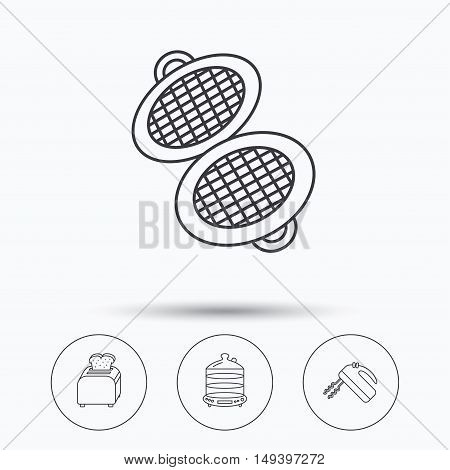 Waffle-iron, toaster and blender icons. Steamer linear sign. Linear icons in circle buttons. Flat web symbols. Vector