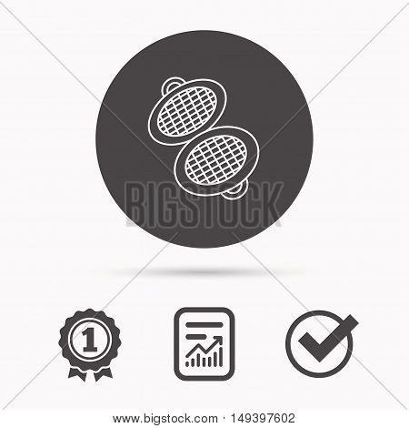 Waffle iron icon. Kitchen baking tool sign. Report document, winner award and tick. Round circle button with icon. Vector