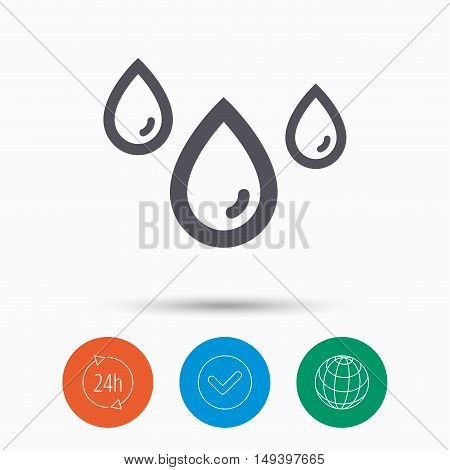 Water drop icon. Rainy weather symbol. Check tick, 24 hours service and internet globe. Linear icons on white background. Vector