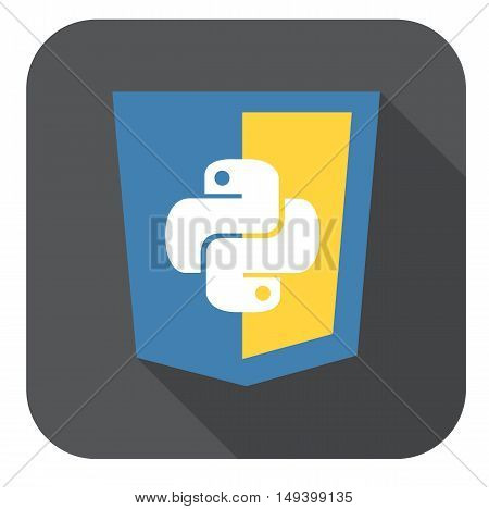 vector illustration of blue and yellow shield with html five badge, isolated web site development icon on white background long shadow