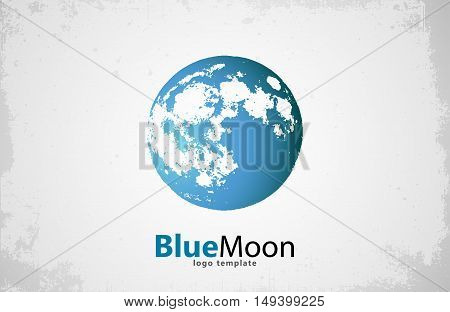 Moon logo design. Creative moon logo. Night logo. Blue moon.