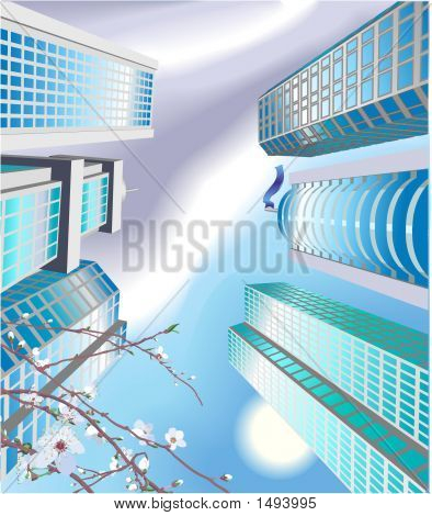Looking Up At Skyscrapers, Cityscape
