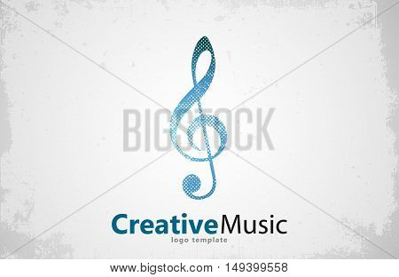 Music logo vector. Musical key note template logo. Note logo. Creative music logo