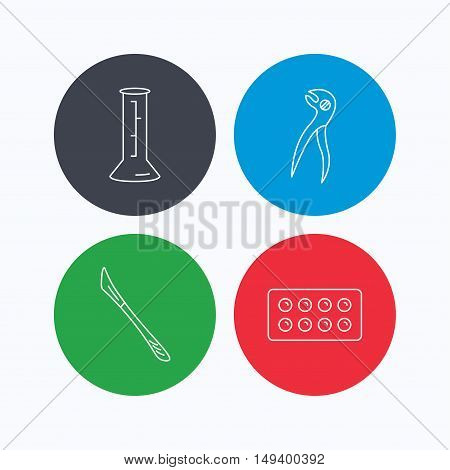 Lab beaker, tablets and dental pliers icons. Scalpel linear sign. Linear icons on colored buttons. Flat web symbols. Vector