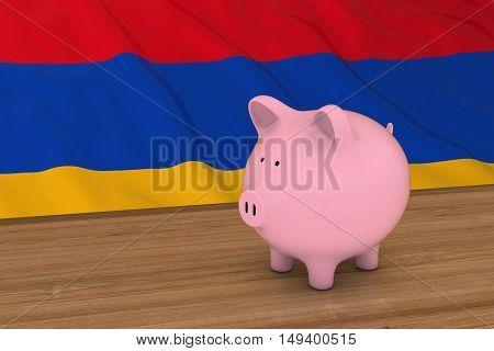 Armenia Finance Concept - Piggybank In Front Of Armenian Flag 3D Illustration