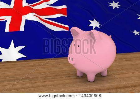 Australia Finance Concept - Piggybank In Front Of Australian Flag 3D Illustration