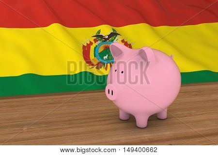 Bolivia Finance Concept - Piggybank In Front Of Bolivian Flag 3D Illustration