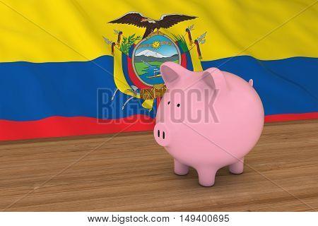 Ecuador Finance Concept - Piggybank In Front Of Ecuadorian Flag 3D Illustration