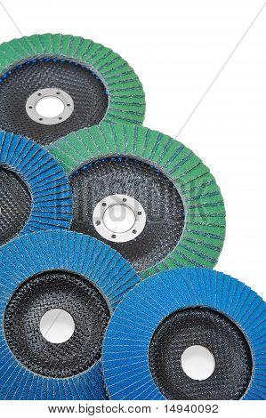 Abrasive disks for grinder isolated on white poster