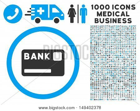 Bank Card icon with 1000 medical business gray and blue vector pictograms. Collection style is flat bicolor symbols, white background.