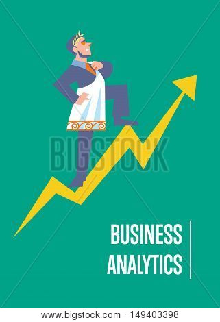 Business analytics banner with businessman in roman toga and laurel wreath standing on arrow graph, isolated vector illustration on green background. Business growth. Big boss concept. Famous person