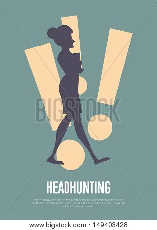 Silhouette of businesswoman with exclamation marks. Headhunting banner, isolated vector illustration on gray background. Human resource concept. Headhunting objectives and recruitment strategy