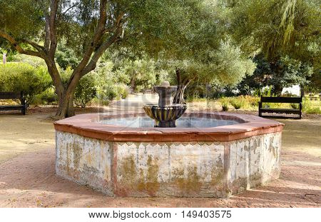 LOMPOC, CALIFORNIA - SEPTEMBER 21, 2016: Fountain at Mission La Purisima Concepcion de Maria Santisima. The mission is the most restored of the Spanish Missions.