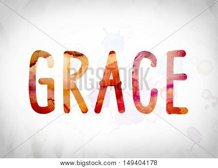 "The word ""Grace"" written in watercolor washes over a white paper background concept and theme. poster"
