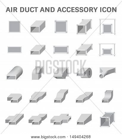 Vector icon of air duct and accessory for air conditioning or HVAC system.