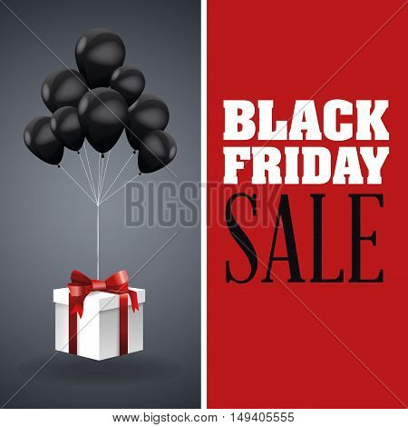 Balloons and gift icon. Black Friday sale and offer theme. Grey background. Vector illustration
