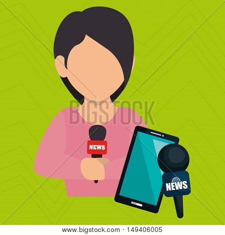 woman news smartphone reportage vector illustration eps 10