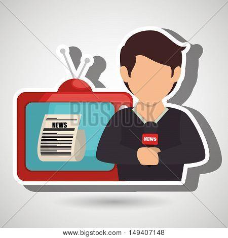 reporter tv news microphone vector illustration eps 10