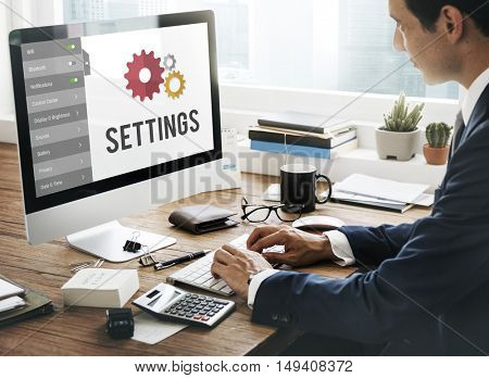 Settings Configuration Setup Tools Concept