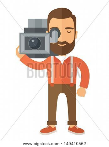 A caucasian videographer with his video camcorder. A Contemporary style.  flat design illustration isolated white background. Vertical layout