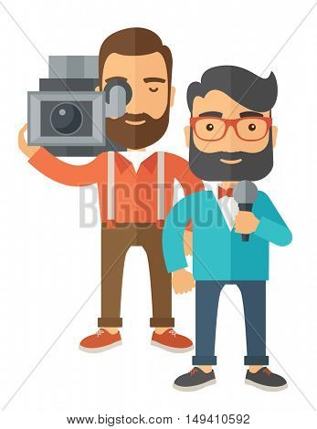A professional caucasian journalist and news reporter with video camera and microphone broadcasting. A Contemporary style.  flat design illustration isolated white background. Vertical layout