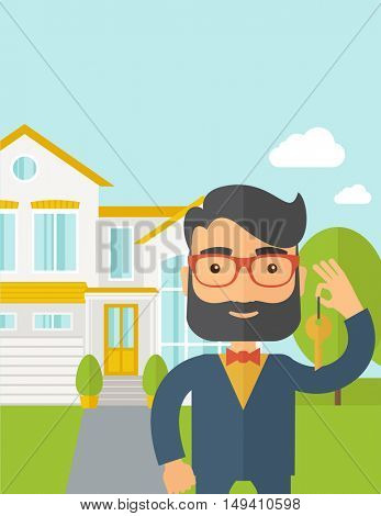 A caucasian real estate agent standing and holding a key infront of the house. A Contemporary style with pastel palette, soft blue tinted background with desaturated clouds.  flat design illustration