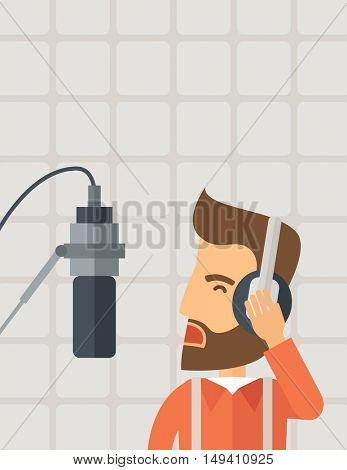 A caucasian radio DJ working in a radio station with headphone and microphone raising his voice. A Contemporary style with pastel palette, soft beige background.  flat design illustration. Vertical