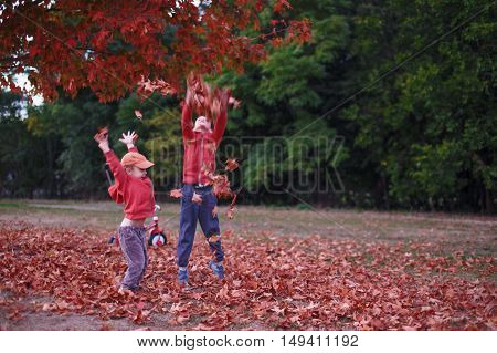 kids playing with fallen leaves. joyful boys frolic in the fallen maple leaves in the forest. the concept of happy autumn