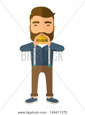 A happy Hipster office man eating hamburger as his snack break. Relaxing concept. A Contemporary style.  flat design illustration isolated white background. Vertical layout.