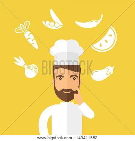 A caucasian worker trying to cook for dinner in his kitchen while looking at the cook book as his guide. Learning concept. A Contemporary style with pastel palette, Yellow background.  flat design