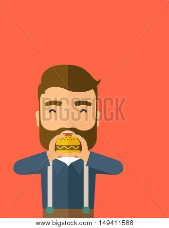 A happy Hipster office man eating hamburger as his snack break. Relaxing concept. A Contemporary style with pastel palette, orange tinted background.  flat design illustration. Vertical layout with