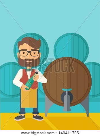 A wine maker standing wearing his apron holding a bottle of wine inspecting from barrel inside the wine storage room. A contemporary style with pastel palette dark blue tinted background.  flat design