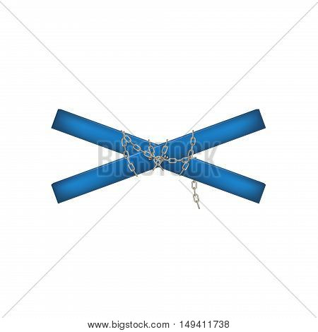 Wooden crossbar in blue design connected by chain on white background
