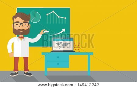 A young professor holding a chalk sketching a graphs and teaching on how to develop a business worlwide. A Contemporary style with pastel palette, dark yellow tinted background.  flat design