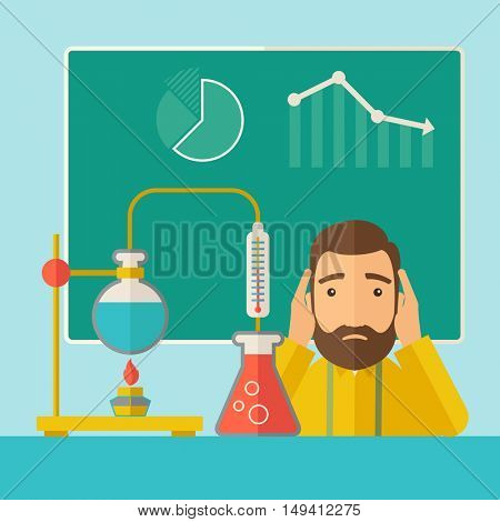 A science teacher with scared facial expression works on mixing chemicals for an experiment in the laboratory. A Contemporary style with pastel palette, soft green tinted background.  flat design