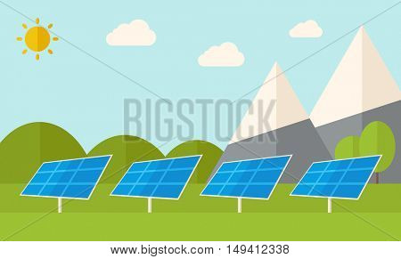 Four solar panels standing under the heat of the sun use for energy alternative. A Contemporary style with pastel palette, soft blue tinted background with desaturated clouds. flat design illustration