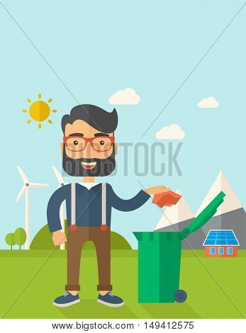 A caucasian man throwing a crumpled paper in a green garbage bin. A Contemporary style with pastel palette, soft blue tinted background with desaturated clouds. flat design illustration. Vertical