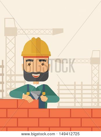 A smiling builder wearing a hard hat buiding a brick wall. A Contemporary style with pastel palette, soft beige tinted background. flat design illustration. Vertical layout with text space on top part