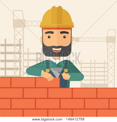 A smiling builder wearing a hard hat buiding a brick wall. A Contemporary style with pastel palette, soft beige tinted background. flat design illustration. Square layout.