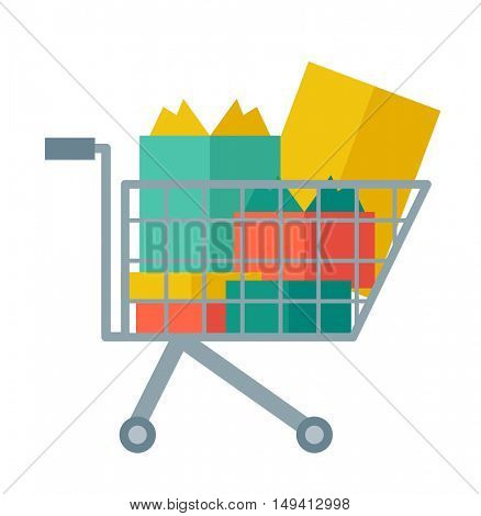 Shopping cart full of shopping bags and gift boxes. A contemporary style. flat design illustration with isolated white background. square layout